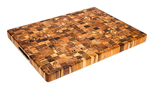 Teak Set Dining Rectangular Table (New Gift for your Kitchen, Teak cutting board Chopping Block - End Grain - Rectangular, Kitchenware, Sturdy and Durable - 20