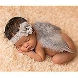 ANKK0 Ailes en plumes d'ange et bandeau à fleurs fantaisie pour prise de vue bébé nouveau-né (A)