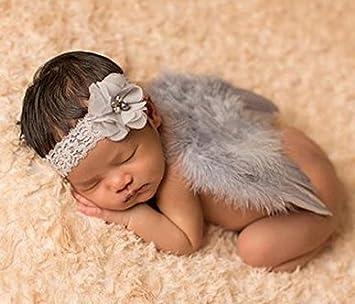 ANKK0 Ailes en plumes d'ange et bandeau à fleurs fantaisie pour prise de vue bébé nouveau-né (F) Tasmine