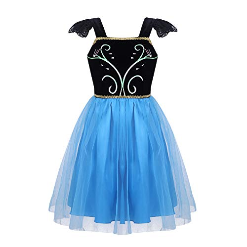 iEFiEL Kids Girls' Princess Dress Fairy Tale Sweetheart Fancy Party Costumes Halloween Cosplay Black&Blue Tulle 6-12 Months
