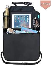 Premium Rückenlehnenschutz Auto | Autositz Organizer mit Taschen + Tablet iPad Fach | Trittschutz wasserdicht Autositzschoner Back Seat Cover Protector | Rücksitz Schutz Kick-Matte Kinder