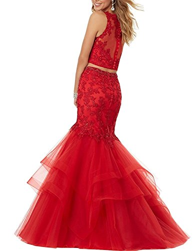 Sweet Bridal Women's Two Pieces Jewel Neck Lace Applique Beaded Mermaid Prom Dress Hot Pink US6