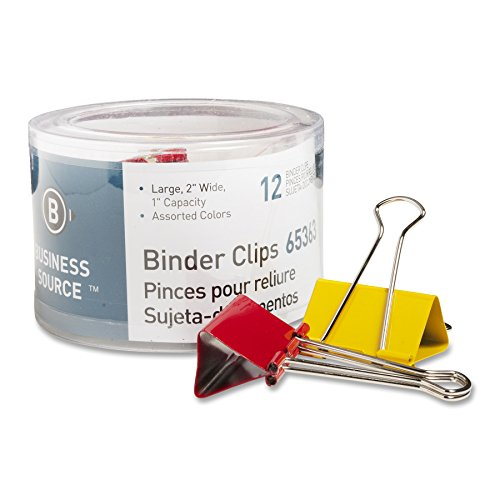 Business Source Large Binder Clips - Pack of 12 - Assorted Colors (65363)
