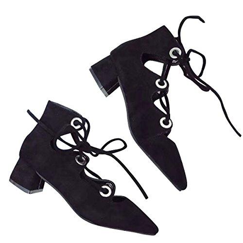Caro Tempo Donne Blocco Tallone Gladiatore Sandalo Cinturino Alla Caviglia Pompe Chunky Tacco Nero