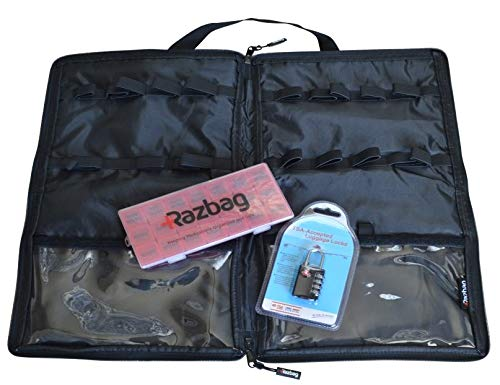 Lockable Medicine bag including TSA Combination Lock holds 20 various sizes of prescriptions or vitamins, 3 storage pockets. Great for travel. With FREE 7-day Pillbox medication organizer by Razbag.