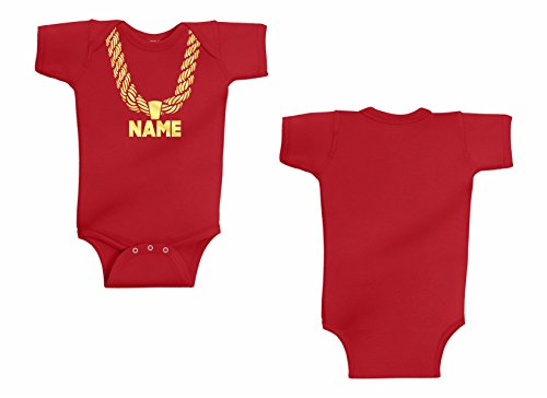 Infant Onesie Gold Chain One Piece, Hip-Hip Your Custom Personalized Name