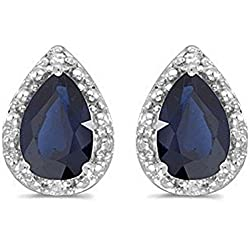Pear Blue Sapphire and Diamond Stud Earrings 14k White Gold (1.70ct)