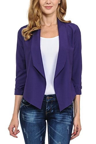 Auliné Collection Womens Casual Lightweight 3/4 Sleeve Fitted Open Blazer Purple XL
