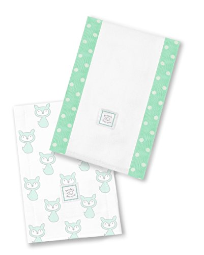 SwaddleDesigns Baby Burpies, Set of 2 Cotton Burp Cloths, SeaCrystal Little Fox by SwaddleDesigns