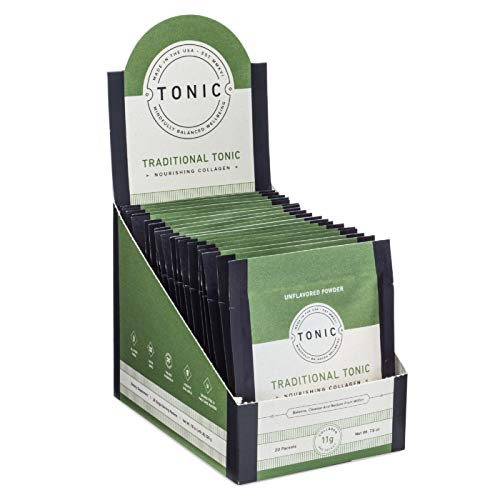 TONIC: Collagen Peptides & Gut Health Supplement Bone Broth Alternative, Paleo + Keto Friendly, Pasture Raised, Gluten Free, Unflavored, 20 Single Servings