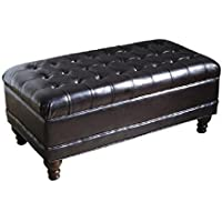 HomePop Deluxe Tufted Storage Bench with Hinged Lid, Espresso