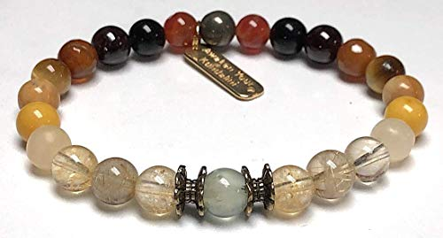 Stunning Manifestation Mala Beads Stretch Bracelet Wrist bracelet - Healing gemstone - Citrine Golden Rutilated quartz Topaz Prehnite Amber Red Jasper Obsidian Garnet Pyrite Miracle Tigereye-US Seller