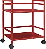 Altra Marshall 2 Shelf Metal Rolling Utility Cart, Red