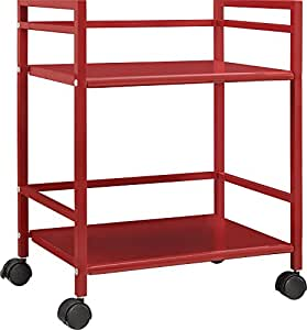 Altra Marshall 2 Shelf Metal Rolling Utility Cart Red Kitchen Dining