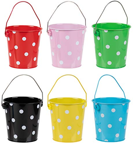 Colored Mini Metal Buckets - 6-Pack Colorful Tin Pails with Handles, Polka Dot Design on Assorted Colors, Small-Sized for The Beach, Party Favors, Easter, Candy, or Garden -