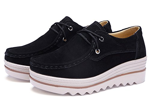 Shoes Platform Walking Women's Sneakers Black B On DADAWEN Slip SnYxOU