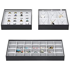 Magic Stackable Jewelry Trays Closet Dresser Drawer Organizer for Accessories, Gadgets & Cosmetics, Storage Display…