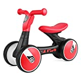 Bamny Baby Balance Bike No Pedal Baby Car Ride on Toy for 1-3 Years Old Children Walker Ages 12-36 Months Durable Toddler Tricycle Infant First Birthday Gift Indoor Outdoor (Red-Black)