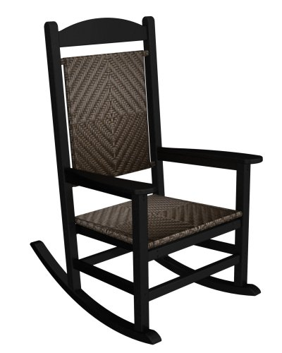 POLYWOOD R200FBLCA Rocking Chairs, Black Frame/Cahaba