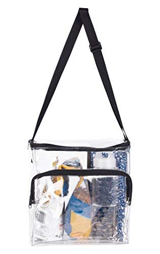 Large Lunch Bag Stadium Security Approved Clear Lunch Box with Adjustable Strap & Front Zippered Pocket   Thick, Easy to Clean & Water Resistant Tote Bag  Great for Men, Women & Kids ()