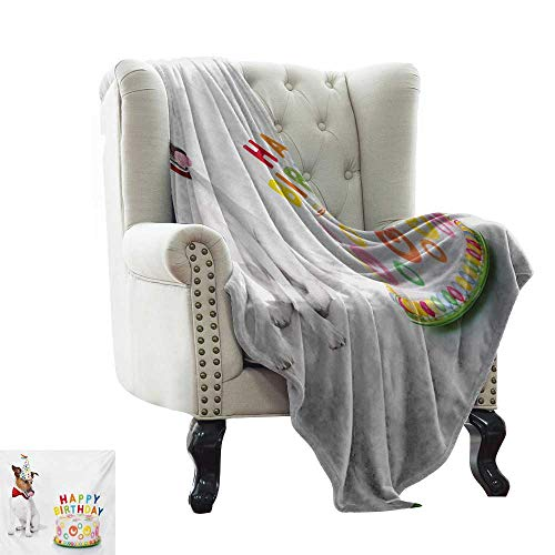 LsWOW White Throw Blanket Kids Birthday,Russel Dog Domestic Puppy Pet with Hat at a Party Celebration with Yummy Cake,Multicolor Warm Blanket for Autumn Winter ()