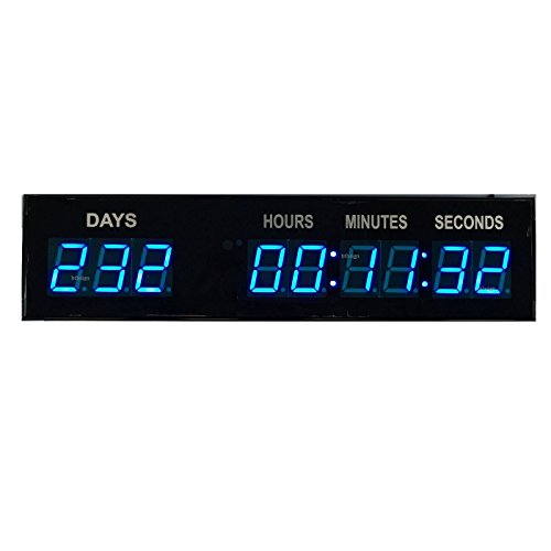 Blue 1.8 9Digits Large LED Countdown Count Up Days Clock With Wireless Remote by BTBSIGN ()
