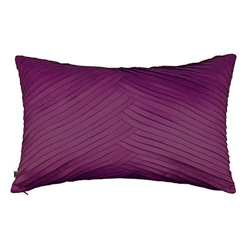 Neutral Long Rectangle Lumbar Pleated Plush Throw Pillow Cushion Cover, Solid Purple Plum, 12x20 ()