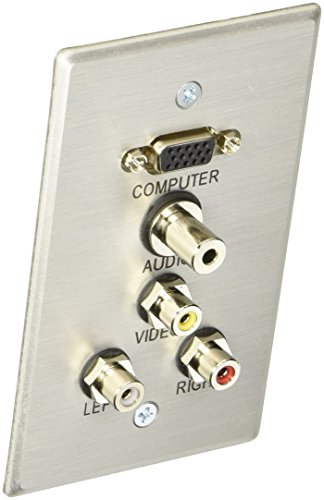 (C2G 40490 VGA, 3.5mm Audio, Composite Video and RCA Stereo Audio Pass Through Single Gang Wall Plate, Brushed Aluminum)