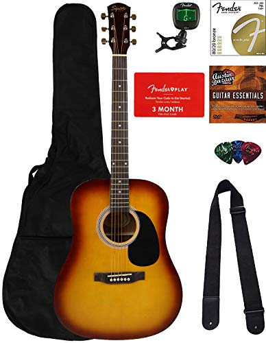 (Fender Squier Dreadnought Acoustic Guitar - Sunburst Bundle with Fender Play Online Lessons, Gig Bag, Tuner, Strings, Strap, Picks, and Austin Bazaar Instructional DVD)