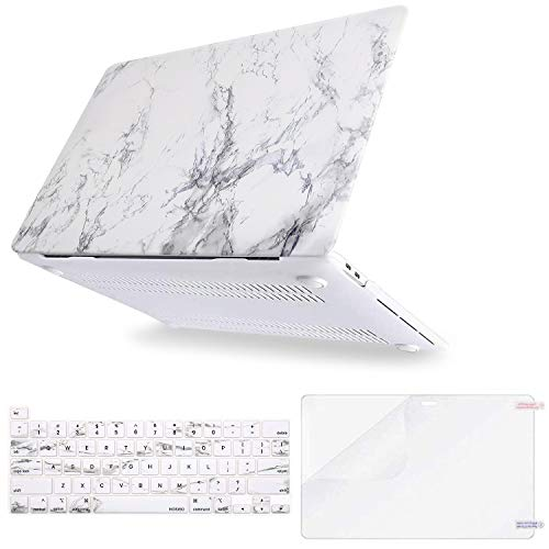 MOSISO MacBook Pro 16 inch Case 2020 2019 Release A2141 with Touch Bar & Touch ID, Plastic Pattern Hard Shell Case & Keyboard Cover & Screen Protector Compatible with MacBook Pro 16, White Marble