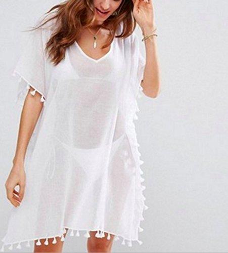 Costume Garza Muesepoem Bagno Bikini Bianco Coprire Nappa Vestito Beachwear Orlo Donne Delle Da wrwqXF0