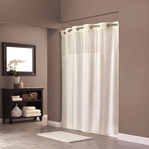 On Hookless Shower Curtain Hookless Polyester 70 x 74 Inch Shower Curtain with Light-Filtering Mesh Screen and Magnets Anti mildew Premium ABS Flex-On Rings | White