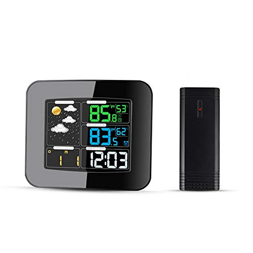 Digital Wireless Weather Station Alarm Clock Thermometer Hygrometer with Clear LCD Indoor Outdoor Temperature Humidity Sensor (Best Alarm Clock Radio Consumer Reports)