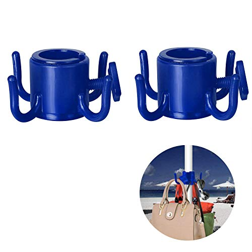 TAGVO 2 Pack Beach Umbrella Hanging Hook, 4-prongs Plastic Umbrella Hook Hanging for Towels/Hats/Clothes/Camera/Sunglasses/Bags-Durable, Fit for Beach,Camping Trips (Blue- 2 Pack)