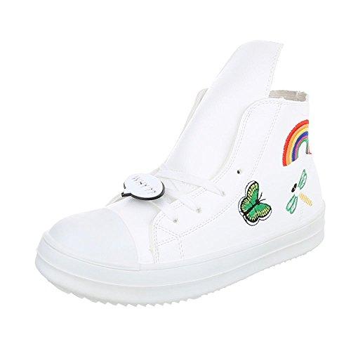 Ital-Design High-Top Sneaker Damenschuhe High-Top Sneakers Schnürsenkel Freizeitschuhe Weiß
