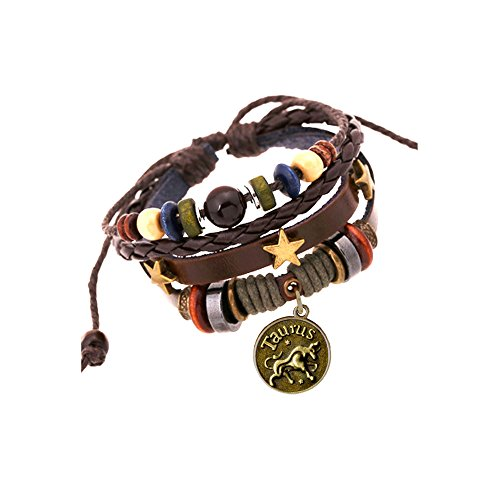 (JEWSUN Handmade Genuine Real Leather Bracelet with Constellation Zodiac Sign Logo Charms,Color Wooden Beads,Button,Adjustable Size)