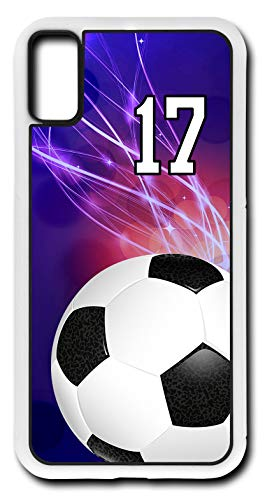 iPhone X Case Soccer Ball SC039Z Choice of Any Personalized Number Phone Case by TYD Designs in White Rubber with Team Player Jersey Number 17