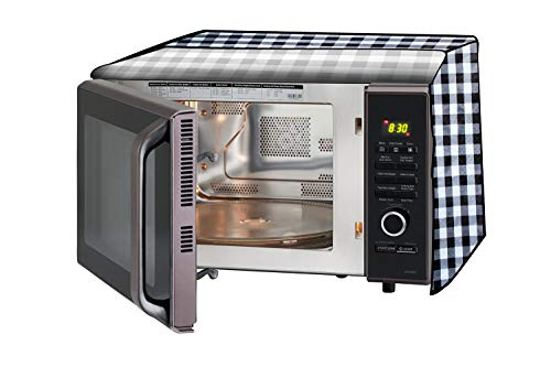 Stylista Microwave Oven Cover for Samsung 32 L Convection CE117PC-B2/XTL Gingham Pattern Black & White