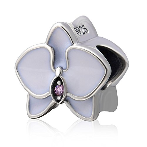 (Orchid with Cz Stone and Enamel Charm 925 Sterling Silver Flower Charm Lucky Charm Anniversary Charm for DIY Charms Bracelet (White))