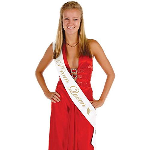 Beistle Prom Satin Sash, 33-Inch by 4-Inch, Queen