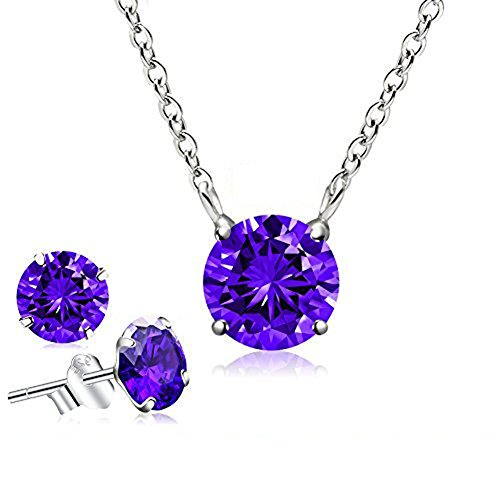 CAT EYE JEWELS June Birthstone Pendant Necklace Cubic Zirconia Sterling Silver Necklace (Alexandrite)