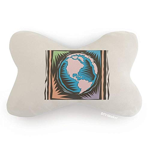 DIYthinker Mysterious Blue Earth Mexican Element Engraving Car Neck Pillow Headrest Support Cushion Pad by DIYthinker