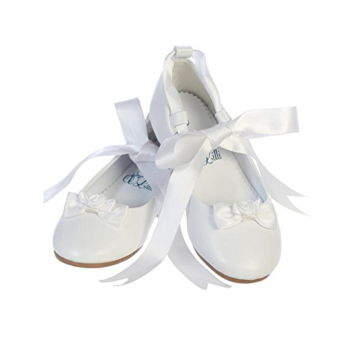 Ballerina Style Flats With Satin Ribbon (7 M US Toddler, White)