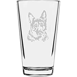 German Shepherd Dog Themed Etched All Purpose 16oz Libbey Pint Glass