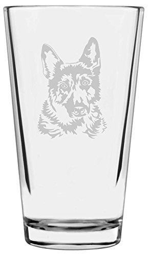 German Shepherd Dog Themed Etched All Purpose 16oz Libbey Pint Glass ()
