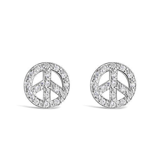 925 Sterling Silver Tiny 14mm CZ Peace Sign / Symbol Stud Earrings – Dainty Love Jewelry for Men, Women
