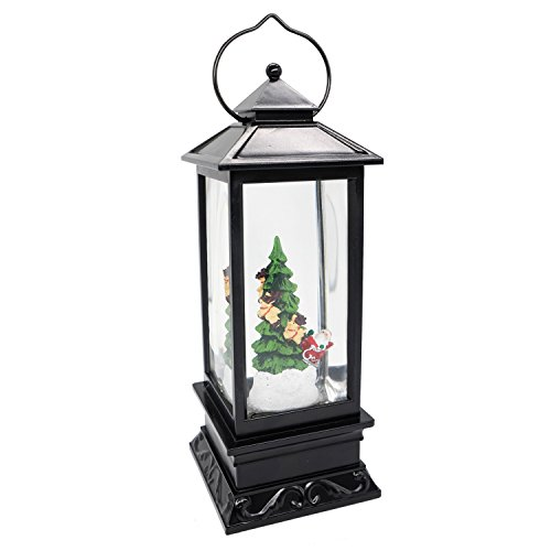 Eldnacele Musical Christmas Snow Globe Lantern Battery Operated & Lined Lighted Glittering Spinning Singing Water Lantern Santa Claus 6H Timer USB Cord 12