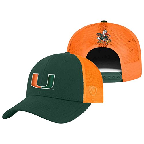 Miami Adult Hat (Miami Hurricanes Adult NCAA Team Spirit Structured Fit Meshback Hat - Team Color ,)