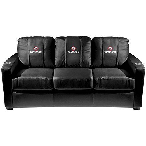 XZipit College Silver Sofa with Davidson Wildcats Logo Panel, Black