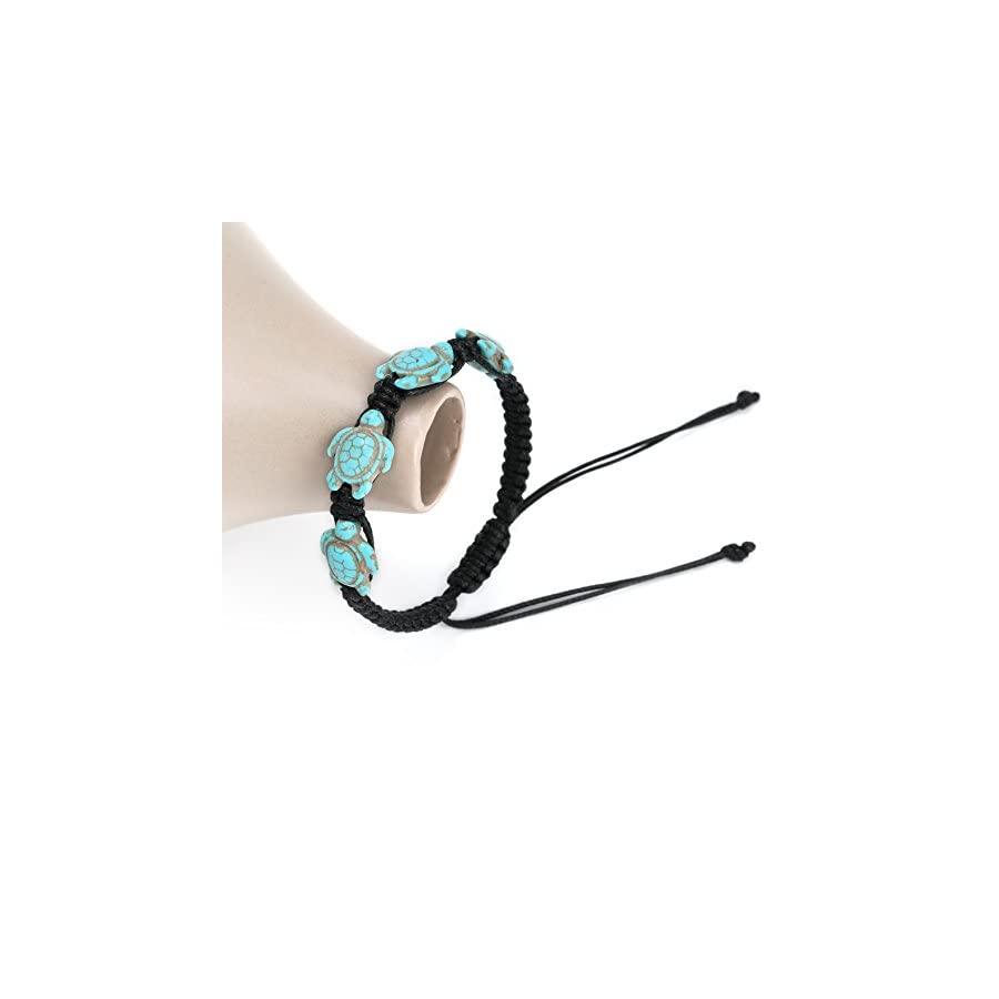 PearlyPearls Turtle Turquoise Bracelet Braided Wax Cord Wrap Bangle Adjustable Handmade Bohemian Jewelry for Women